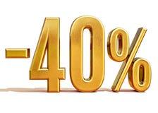 Χρυσός -40%, μείον το σημάδι έκπτωσης σαράντα τοις εκατό Στοκ Φωτογραφίες