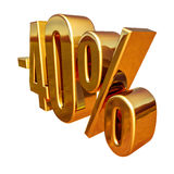 Χρυσός -40%, μείον το σημάδι έκπτωσης σαράντα τοις εκατό Στοκ εικόνα με δικαίωμα ελεύθερης χρήσης