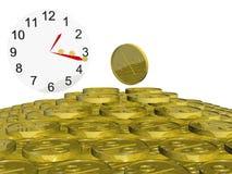 χρυσός νομισμάτων ρολογιών Στοκ φωτογραφία με δικαίωμα ελεύθερης χρήσης