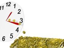 χρυσός νομισμάτων ρολογ&iot Στοκ εικόνα με δικαίωμα ελεύθερης χρήσης
