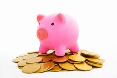 χρυσός νομισμάτων τραπεζών piggy Στοκ φωτογραφίες με δικαίωμα ελεύθερης χρήσης