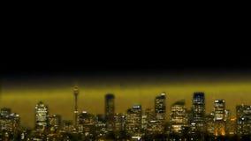 Χρυσός ορίζοντας του Σίδνεϊ ελαφριάς ομίχλης στο ηλιοβασίλεμα στο σούρουπο απόθεμα βίντεο