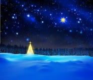 Χρυσός ουρανός χριστουγεννιάτικων δέντρων και αστεριών Στοκ Φωτογραφία