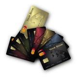 χρυσός πιστωτικών ανεμισ&tau Στοκ Φωτογραφία