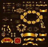 Χρυσός-πλαισιωμένες στοιχεία σχεδίου πολυτέλειας καλλιγραφικές και ευπρέπειες σελίδων απεικόνιση αποθεμάτων