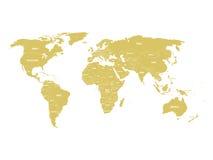 Χρυσός πολιτικός παγκόσμιος χάρτης με τα σύνορα χωρών και τις άσπρες ετικέτες κρατικού ονόματος Συρμένη χέρι απλουστευμένη διανυσ ελεύθερη απεικόνιση δικαιώματος