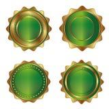 Χρυσός-πράσινες ετικέτες πολυτέλειας Στοκ Φωτογραφία