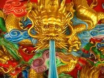 Χρυσός πράσινος και κόκκινος κινεζικός δράκος τρία Στοκ Φωτογραφίες