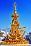 Χρυσός πύργος ρολογιών σε Chiang Rai, Ταϊλάνδη Στοκ Εικόνα