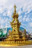 Χρυσός πύργος ρολογιών σε Chiang Rai, Ταϊλάνδη Στοκ φωτογραφία με δικαίωμα ελεύθερης χρήσης