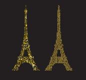 Χρυσός πύργος του Άιφελ που αποτελείται από τις μικρές χρυσές καρδιές και τη ρυμούλκηση του Άιφελ Στοκ φωτογραφία με δικαίωμα ελεύθερης χρήσης