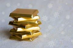 Χρυσός πύργος φραγμών σοκολάτας Στοκ Φωτογραφία
