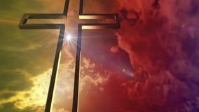 Χρυσός σταυρός με την οπτική φλόγα απεικόνιση αποθεμάτων