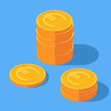 Χρυσός σωρός των ευρο- νομισμάτων απεικόνιση αποθεμάτων