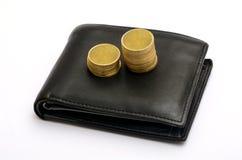 Χρυσός σωρός των νομισμάτων στο πορτοφόλι - έννοια αποταμίευσης Στοκ Φωτογραφία