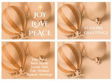 Χρυσός τεσσάρων προτύπων καρτών Χριστουγέννων Στοκ Εικόνες