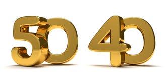 50 40 χρυσός τρισδιάστατος δίνει Στοκ Φωτογραφία