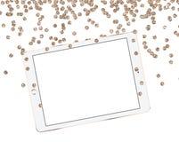 Χρυσός υπολογιστής γραφείου προτύπων τσεκιών Χριστουγέννων, ταμπλέτα σε ένα άσπρο υπόβαθρο Στοκ Εικόνες
