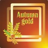 Χρυσός φθινοπώρου Διανυσματική εικόνα για τα εμβλήματα, προσκλήσεις ελεύθερη απεικόνιση δικαιώματος
