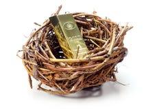 Χρυσός φραγμός στη φωλιά του πουλιού Στοκ φωτογραφία με δικαίωμα ελεύθερης χρήσης