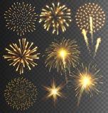Χρυσός χαιρετισμός πυροτεχνημάτων που εκρήγνυται στο διαφανές υπόβαθρο Στοκ Φωτογραφία