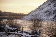 Χρυσός χειμερινός ποταμός Στοκ εικόνα με δικαίωμα ελεύθερης χρήσης