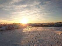 χρυσός χειμώνας τοπίων Στοκ εικόνες με δικαίωμα ελεύθερης χρήσης
