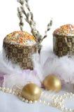 Χρυσός χνουδιού κέικ αυγών Πάσχας Στοκ Εικόνες