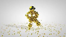 Χρυσός χορεύοντας χαρακτήρας ενάντια στο λευκό, μεταλλίνη Luma ελεύθερη απεικόνιση δικαιώματος