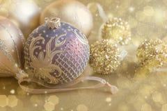 Χρυσός Χριστουγέννων poscard Στοκ Εικόνες
