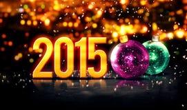 2015 χρυσός όμορφος χειμώνας Bokeh μπιχλιμπιδιών τρισδιάστατος Στοκ Εικόνες