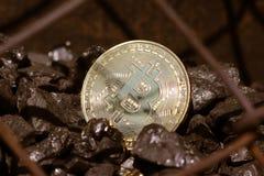 Χρυσός bitcoin σε ένα υπόβαθρο άνθρακα ` s Crypto Mayerized νόμισμα Μισθοδοτική κατάσταση μέσω του Διαδικτύου Crypto σταλαγματιάς στοκ φωτογραφίες με δικαίωμα ελεύθερης χρήσης