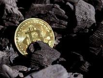 Χρυσός bitcoin σε ένα υπόβαθρο άνθρακα ` s Crypto Mayerized νόμισμα Μισθοδοτική κατάσταση μέσω του Διαδικτύου Crypto σταλαγματιάς στοκ εικόνες