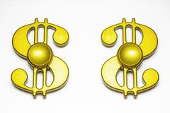 Χρυσός fidget δύο κλώστης δάχτυλων Στοκ Φωτογραφίες
