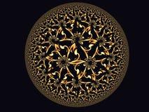 Χρυσός floral δίσκος στο μαύρο υπόβαθρο Στοκ φωτογραφία με δικαίωμα ελεύθερης χρήσης
