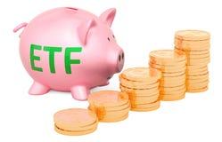 χρυσός piggy νομισμάτων τραπεζ Ένα ανταλλαγή-εμπορικό κεφάλαιο ETF συμπυκνωμένο ελεύθερη απεικόνιση δικαιώματος