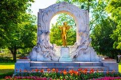 Χρυσό άγαλμα του Johann Strauss, Βιέννη Στοκ Φωτογραφία