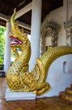 Χρυσό άγαλμα naga στα σκαλοπάτια στοκ φωτογραφία με δικαίωμα ελεύθερης χρήσης