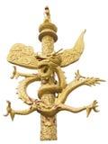 Χρυσό άγαλμα δράκων στο άσπρο υπόβαθρο Στοκ φωτογραφία με δικαίωμα ελεύθερης χρήσης
