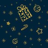Χρυσό άνευ ραφής σχέδιο Χριστουγέννων με το δώρο, τα αστέρια και το συρμένο χέρι διάνυσμα καραμελών διανυσματική απεικόνιση