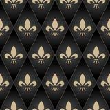 Χρυσό άνευ ραφής σχέδιο Fleur-de-Lis Ο χρυσός ακτινοβολεί και μαύρη διανυσματική απεικόνιση απεικόνιση αποθεμάτων