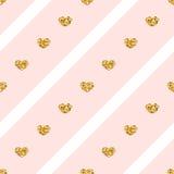 Χρυσό άνευ ραφής σχέδιο γραμμών καρδιών ελεύθερη απεικόνιση δικαιώματος