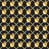 Χρυσό άνευ ραφής σχέδιο μήλων Στοκ Φωτογραφίες