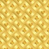 Χρυσό άνευ ραφής σχέδιο με το Μαύρο καρτών πόκερ και Στοκ Εικόνες