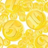 Χρυσό άνευ ραφής σχέδιο νομισμάτων Στοκ φωτογραφία με δικαίωμα ελεύθερης χρήσης