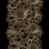 Χρυσό άνευ ραφής floral υπόβαθρο χέρι-σχεδίων με το λουλούδι chamomile Στοκ Φωτογραφίες