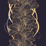 Χρυσό άνευ ραφής floral υπόβαθρο χέρι-σχεδίων με τα amaryllis λουλουδιών Στοκ φωτογραφία με δικαίωμα ελεύθερης χρήσης