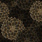 Χρυσό άνευ ραφής floral υπόβαθρο χέρι-σχεδίων με την ντάλια λουλουδιών Στοκ Φωτογραφία