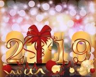 Χρυσό έμβλημα έτους Χαρούμενα Χριστούγεννας ευτυχές 2019 νέο, διάνυσμα απεικόνιση αποθεμάτων