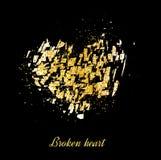 Χρυσό έμβλημα σπασμένη χρυσή καρδιά Χρυσά σπινθηρίσματα στο μαύρο backgroun διανυσματική απεικόνιση